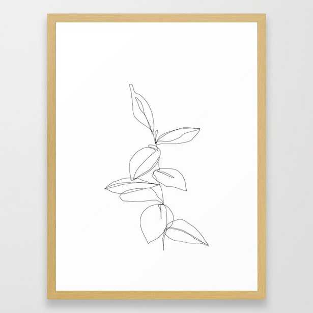 One line minimal plant leaves drawing - 20x26, conservation natural frame - Society6