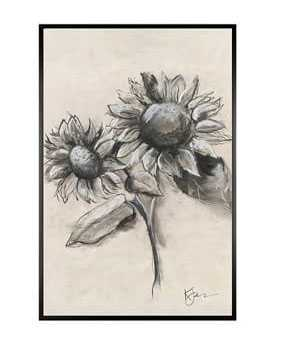 """Charcoal Sunflower Sketch, Sunflower with Stem, 11"""" x 13"""" Wood Gallery, Black, Mat - Pottery Barn"""