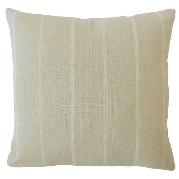 """Tailored Stripe Pillow, Dove, 18"""" x 18"""" with Down Insert - Havenly Essentials"""