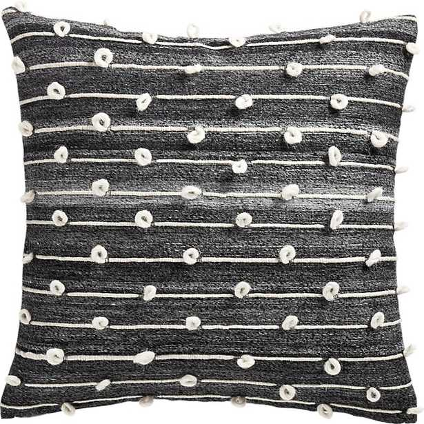 """20"""" MARGAUX DARK GREY FRENCH KNOT PILLOW WITH DOWN-ALTERNATIVE INSERT - CB2"""