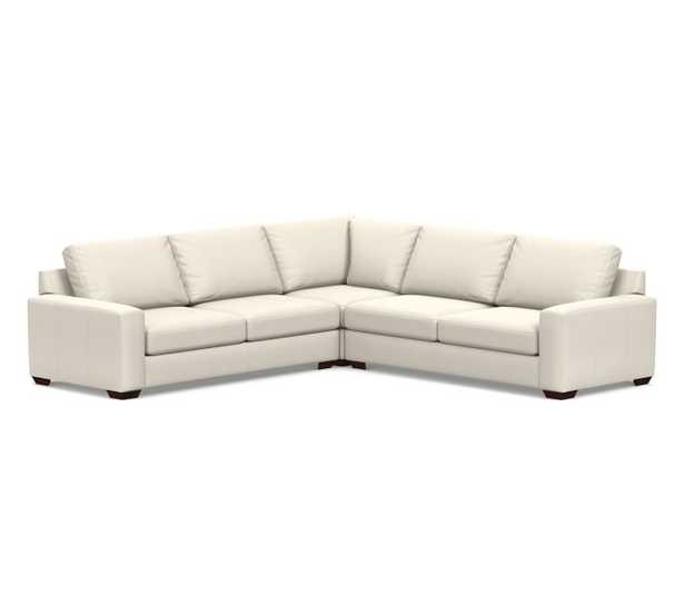Big Sur Square Arm Leather 3-Piece L-Shaped Corner Sectional, Down Blend Wrapped Cushions, Signature Chalk - Pottery Barn