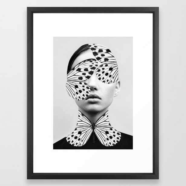 "Woman Butterfly Framed Art Print - 20""x 26"" - black vector frame - Society6"
