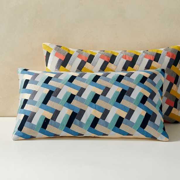 "Cody Hoyt Garden Bricks Pillow Cover, 12""x21"", Blue Multi - West Elm"