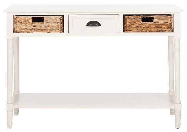 Christa Console Table With Storage - Distressed White - Arlo Home - Arlo Home