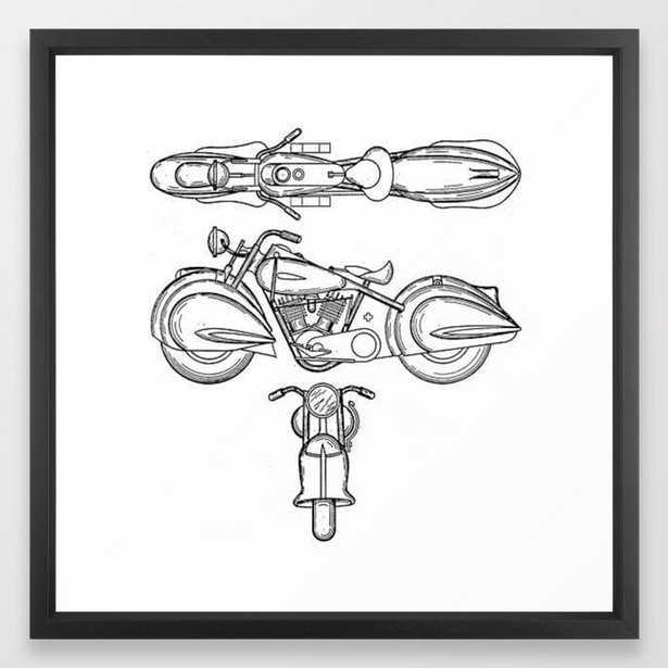 Henderson Motorcycle Prototype Streamliner Main Spec Pre-Patent Drawing Framed Art Print - Society6