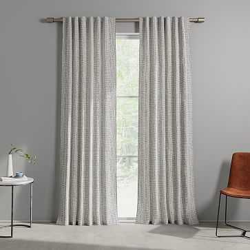 "Cotton Canvas Bomu Curtain, Set of 2, Midnight, 48""x96"" - West Elm"
