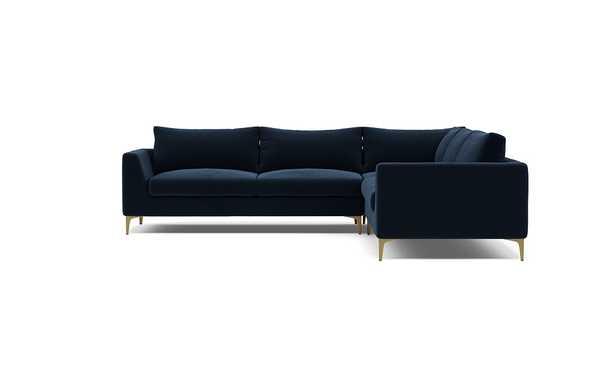 ASHER Corner Sectional Sofa in Navy Performance Velvet, Brass Plated Legs - Interior Define