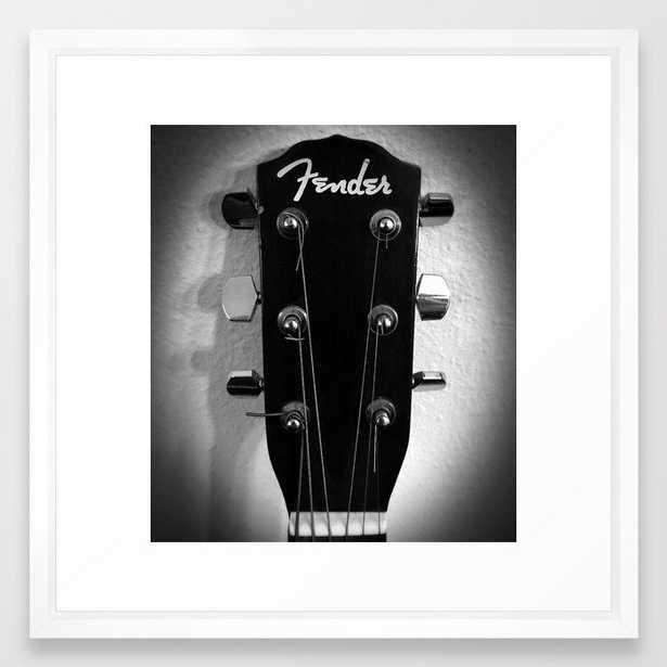 VINTAGE ACOUSTIC GUITAR HEAD B&W PHOTOGRAPHY Framed Art Print - Society6