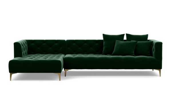 """MS. CHESTERFIELD Sectional Sofa with Left Chaise - 114"""" Brass Plated Sloan L Leg - Interior Define"""