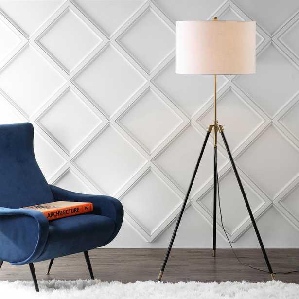 Lucius 67 in. Black/Brass Adjustable Metal LED Floor Lamp - Home Depot