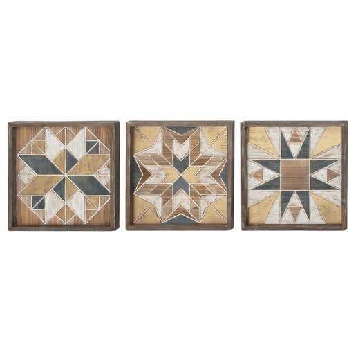 3 Piece Wood Wall Decor Set - Wayfair