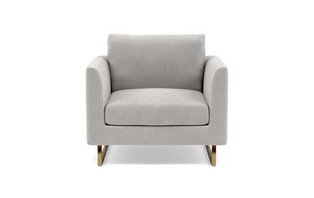 Owens Accent Chair with Sterling Performance Velvet and Matte Bras Square Outline Legs - Interior Define