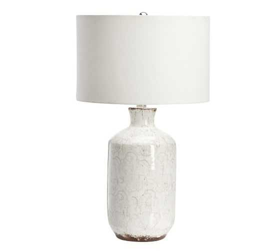 Jamie Young Bethany Ceramic Bedside Lamp, Ivory with Moss Green - Pottery Barn
