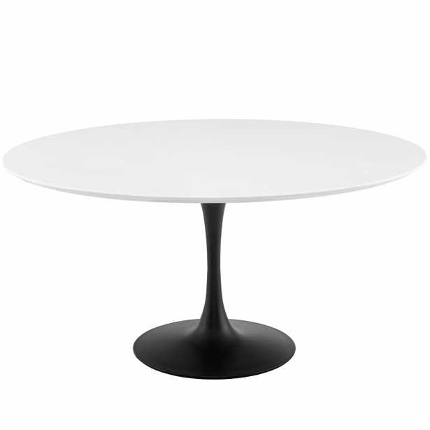 """Lippa 60"""" Round Wood Dining Table in Black White - Modway Furniture"""