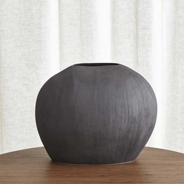 Alura Short Dark Grey Oval Ceramic Vase - Crate and Barrel