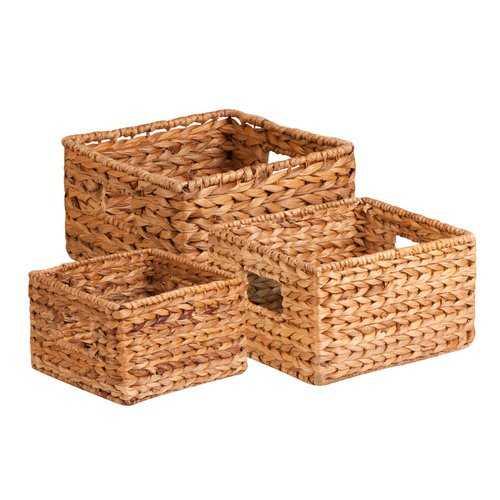 3 Piece Wicker/Rattan Basket Set - Wayfair