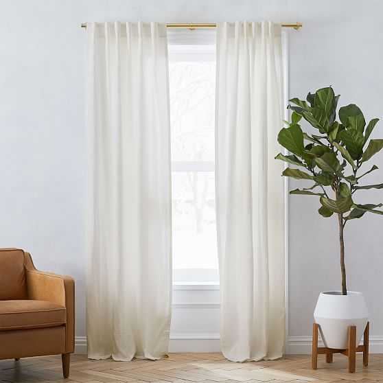 """Custom Size Solid Belgian Flax Linen Curtain, Natural, 36""""x95"""" - West Elm"""