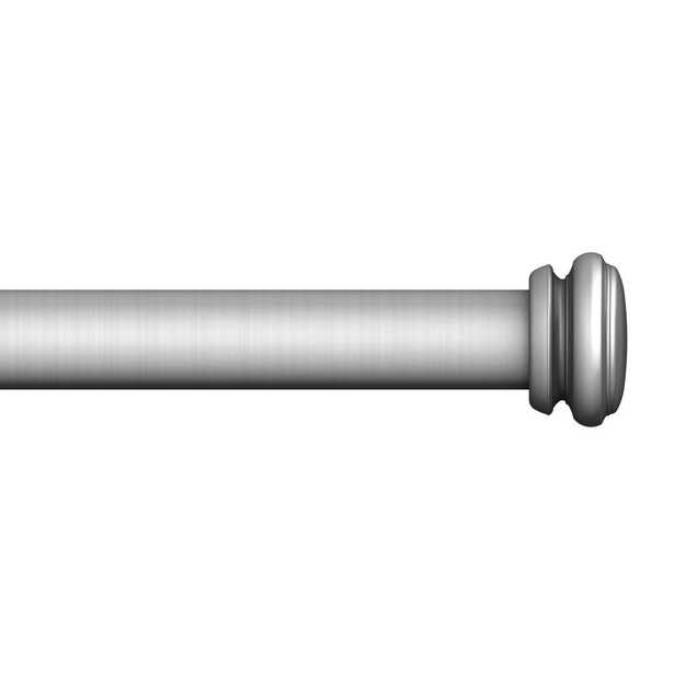 Mix and Match 72 in. L to 144 in. L Telescoping 1 in. Single Curtain Rod Kit in Brushed Nickel - Home Depot