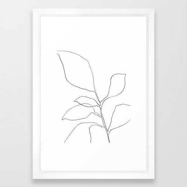 "Six Leaf Plant - Minimalist Botanical Line Drawing Framed Art Print, 15"" x 21"" - Society6"