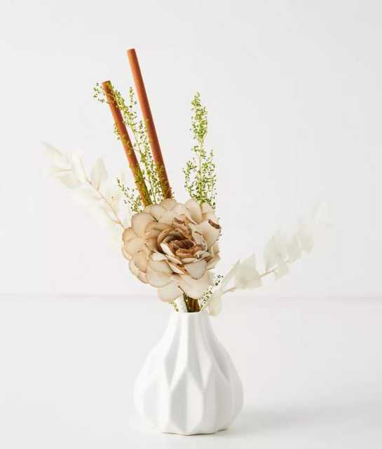 Floral Bouquet Ceramic Diffuser By Anthropologie in White - Anthropologie