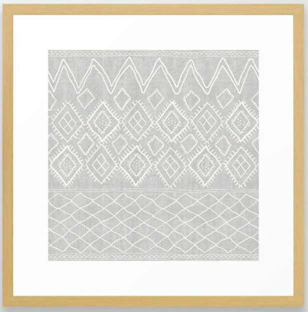 Beni Moroccan Print in Grey Framed Art Print- cpnservation natural - Society6