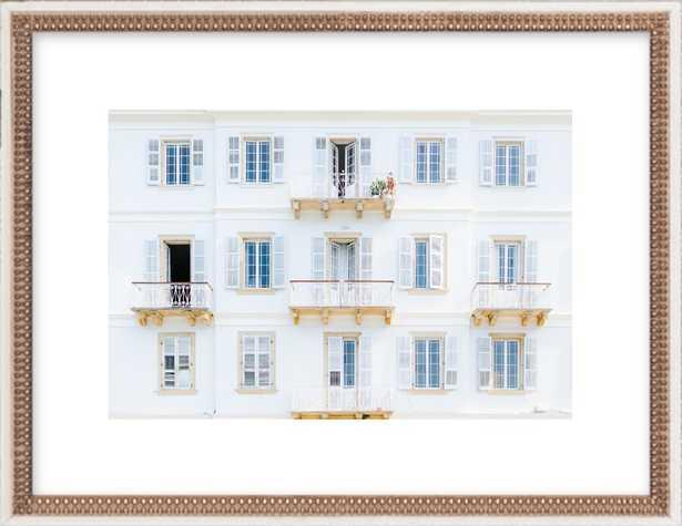 "Corfu Façade- 20"" x 14""  Distressed Cream Double Bead Wood - Artfully Walls"