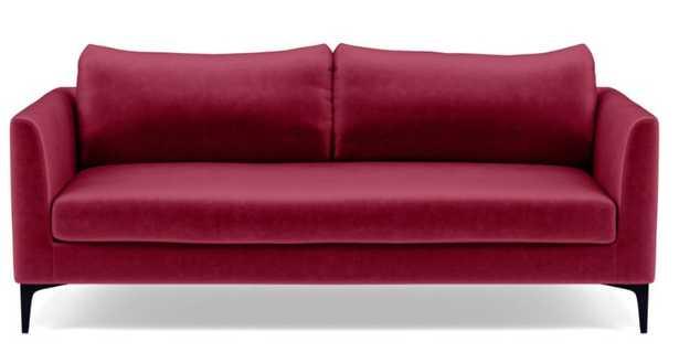 Owens Sofa with Bordeaux Mod Velvet Fabric and Matte Black Sloan L Leg - Interior Define