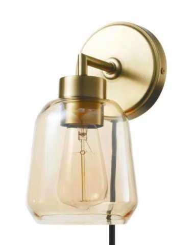 Salma 1-Light Matte Brass Plug-In or Hardwire Wall Sconce with Smoked Amber Glass Shade and In-Line On/Off Switch - Home Depot