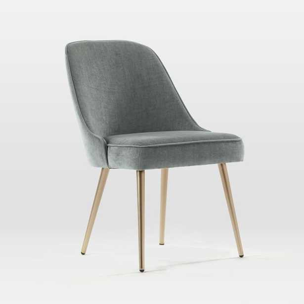 Mid-Century Upholstered Chair, Blackened Brass, Distressed Velvet, Mineral Gray - West Elm