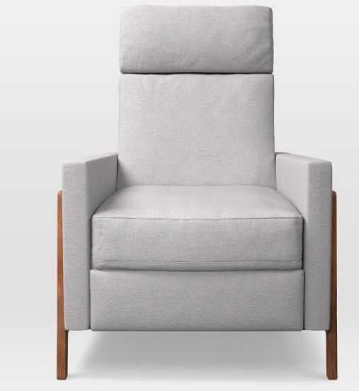 Spencer Wood-Framed Upholstered Recliner - Frost Gray, Chenille Tweed - West Elm