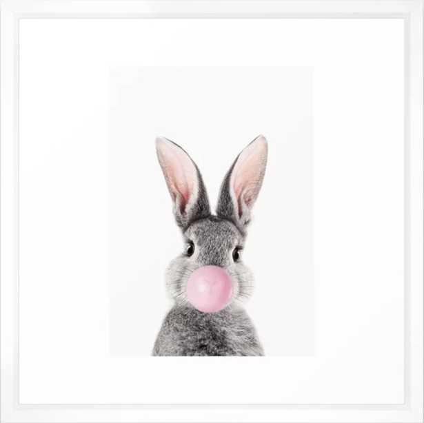 Bunny With Bubble Gum Framed Art Print - Society6