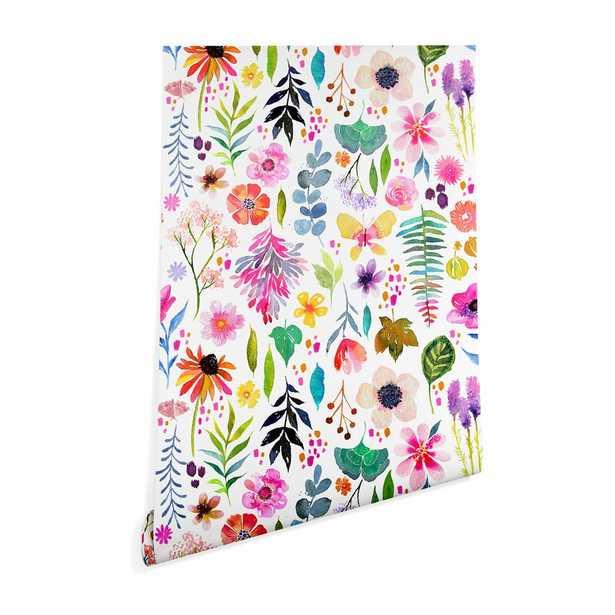 "8'L x 24""W Pink Stephanie Corfee Garden Baby Peel and Stick Wallpaper Panel (Part number: CF7760F72B47418BB355F9680817992C) - Wayfair"