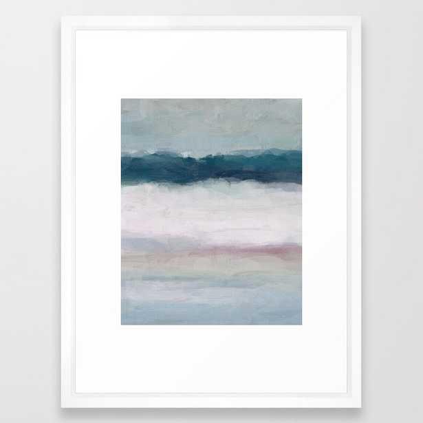 "Dark Teal Blue, White, Pink, Light Blue Modern Wall Art, Ocean Waves Diptych Nursery Beach Decor Art Framed Art Print, 20""x26"", Vector White Frame - Society6"