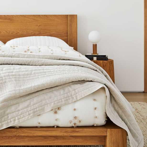 Belgian Flax Linen Linework Quilt, King/Cal. King, Natural Flax - West Elm
