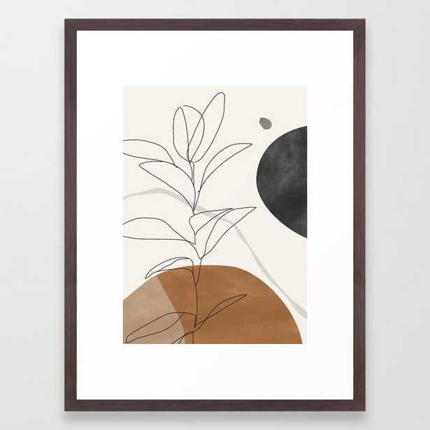 """Abstract Art /Minimal Plant Framed Art Print - Conservation Walnut - Medium (gallery) - 20"""" X 26"""" - Society6"""