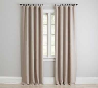 "Custom Classic Belgian Linen Curtain, Dark Flax, 48 x 168"" - Pottery Barn"