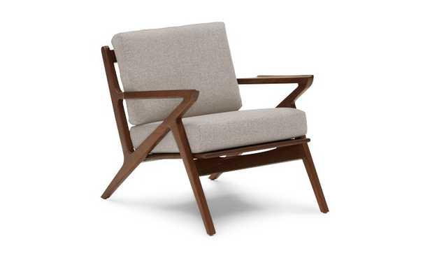 White Soto Mid Century Modern Concave Arm Chair - Merit Dove - Walnut - Joybird