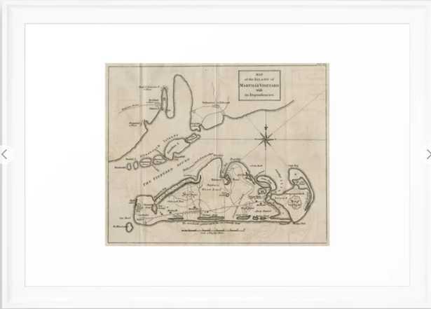 Vintage Map of Martha's Vineyard (1782) Framed Art Print - Scoop White frame - Society6