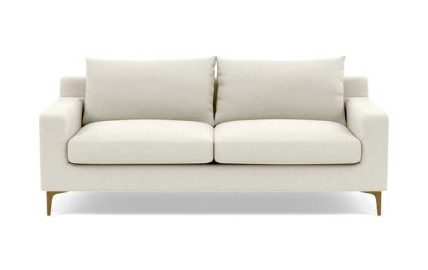 "Sloan 91"" sofa, chalk heathered weave,  brass plated sloan leg - Interior Define"