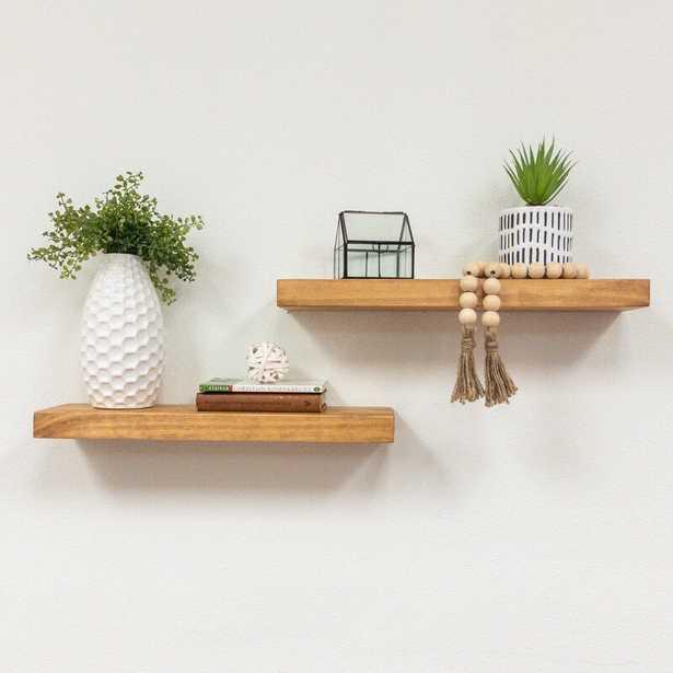 "Evonne 2 Piece Solid Wood Pine Floating Shelf (Set of 2) - Walnut - 36"" - Wayfair"