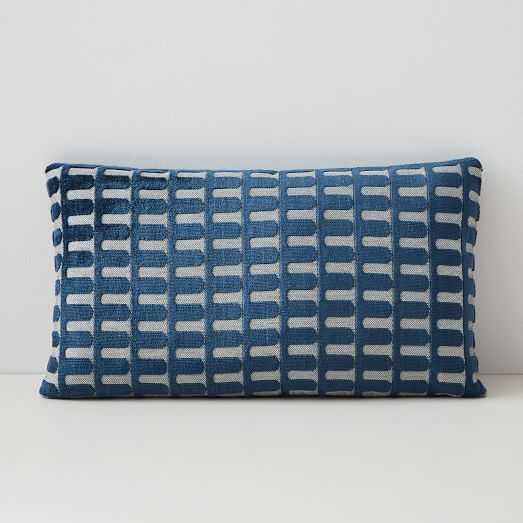 """Cut Velvet Archways Lumbar Pillow Cover, 12 Cut Velvet Archways Lumbar Pillow Cover, 12""""X21"""", Regal Blue - West Elm"""