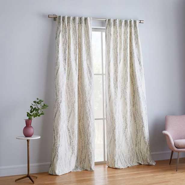 """Bark Texture Jacquard Curtain, Unlined, Platinum, 96""""l x 48""""w. - West Elm"""