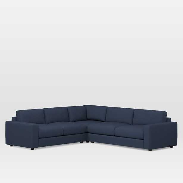 Urban 3-Piece L-Shaped Sectional, Large - Twill, Regal Blue - West Elm