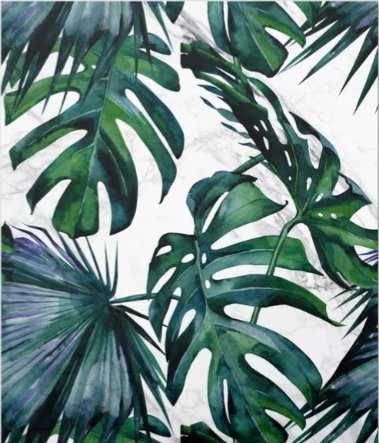 Tropical Palm Leaves Classic on Marble Canvas Print - Society6