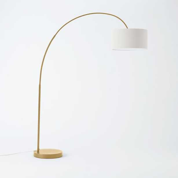 Cfl Overarching Floor Lamp, Antique Brass, White - West Elm