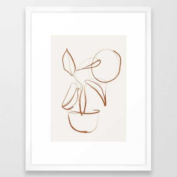 "Abstract line art /Plant2 Framed Art Print, 20x26"", Vector White - Society6"