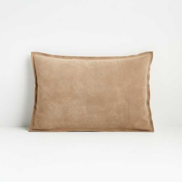"""Camito Pebble 18""""x12"""" Suede Pillow with Feather-Down Insert - Crate and Barrel"""