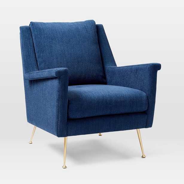 Carlo Midcentury Chair, Basket Slub, Sapphire, Brass, Poly - West Elm