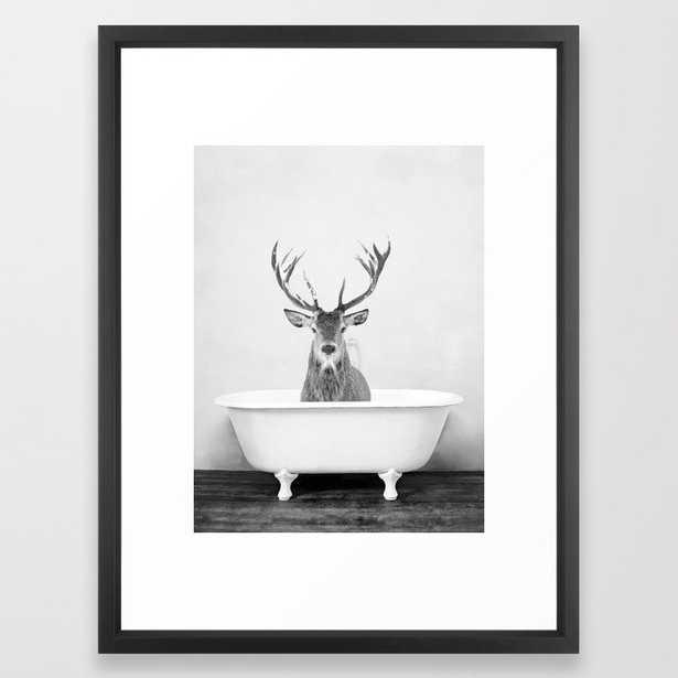 22 Male Deer in a Vintage Bathtub (bw) Framed Art Print - Society6