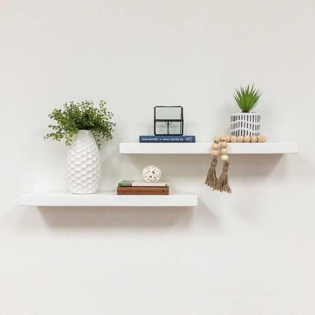 Evonne 2 Piece Pine Solid Wood Floating Shelf (Set of 2) - Wayfair